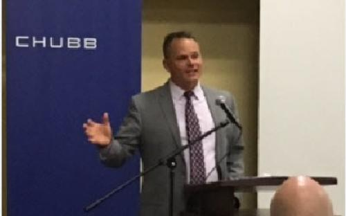 Delaware Insurance Commissioner Trinidad Navarro visits with the Brandywine Valley CPCU Chapter.